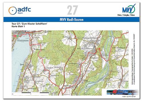 Eine der neuen MVV-Radl-Tourenkarten: Von Starnberg über das Kloster Schäftlarn nach Sauerlach