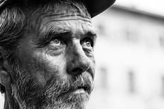 In searching for God up in the sky (Giulio Magnifico) Tags: life portrait look hat beard eyes god streetphotography streetportrait soul gaze clochard udine nikond800e nikkormicro105mmafsvrf28