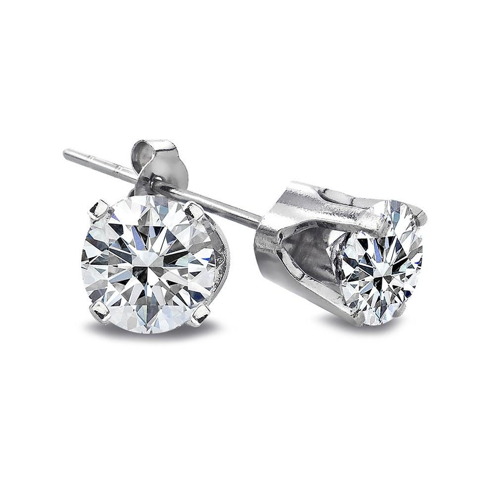 Ct Diamond Stud Earrings In K White Gold