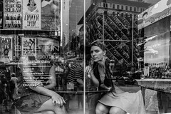 Stuck In The Moment (pennuja) Tags: street new york city nyc blue reflection window yellow square stuck manhattan candid stranger times moment fin 47th the in
