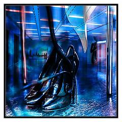 Stiletto Nights (NILOFIDO) Tags: light sunset red urban house detail reflection london art texture window water colors closeup thames night nude restaurant nikon shadows photoshoot interior grunge sigma showroom hdr tentazioni selectivecoloring d3x nilofidoc