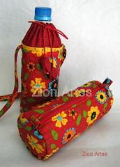 Bolsinha para garrafa de água e estojo (Zion Artes por Silvana Dias) Tags: patchwork bolsa pencilcase necessaire garrafadeágua portagarrafa estojoescolar estojodetecido zionartes bolsaparagarrafadeágua