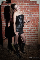 femdom 05 (CE Photogenetix) Tags: light urban woman sexy brick beauty leather fashion wall female night fetish dark dom femme bricks domination vinyl sm fem corset ponytail select femdom dominatrix canon40d christinaedwards