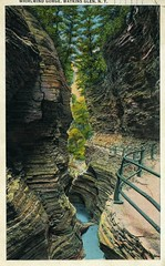 Whirlwind Gorge Watkins Glen NY (Edge and corner wear) Tags: park new york rock vintage pc state path finger postcard lakes scenic upstate formation walkway area railing region