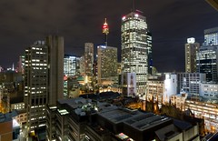 Room with a view (Matthew Kenwrick) Tags: city urban architecture night lights hotel view sydney australia wideangle 1022mm westfieldtower