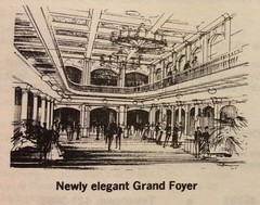 Music Hall renovation: Grand Foyer (1969) (matthunterross) Tags: ohio illustration cincinnati escalator concept musichall foyer rendering