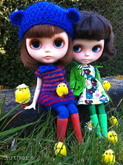 Janne and Colette (Juther) Tags: life blue girls friends red pet pets color cute green chicken love colors grass animals yellow garden easter outside bigeyes carved doll dolls factory dress friendship colorfull coat faceplate carving pastels littlegirl blythe freckles brunette custom cutest diorama bearhat blythedoll flowerdress customblythe faceup blythedolls customdoll lovelydays littlelady factorygirl littlemissperfect blythecustom customgirl blytheaday iphoneography factorycustom livingmylovelylife lovelywinterdays