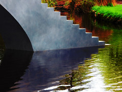 Stepping Out in the Botanical Gardens, (Steve Taylor (Photography)) Tags: art digital sculpture steps stairs colourful contrast concrete water lake newzealand nz southisland canterbury christchurch hagleypark texture shadow reflection curve botanicgardens diminishandascend davidmccracken staircase