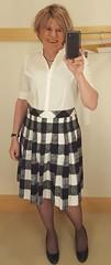 Buffalo Print Skirt and White Blouse (krislagreen) Tags: tg tgirl transgender transvestite cd crossdress skirt blouse hose pumps patent femme feminized feminization