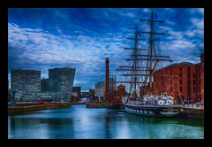 Catching the Tide (Kevin, from Manchester) Tags: albertdock ship sky liverpool merseyside architecture water rivermersey canon1855mm hdr