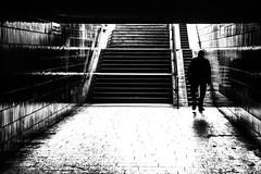 Out of the dark (KJ Photographie) Tags: bahnhof blackandwhite city deutschland germany man mann salzbergen schwarzweis strase street cityscape darkness streetlife