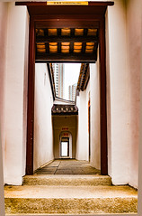 inside Hakka walled village (Kai-Ming :-))) Tags: kaiming kmwhk hakkawalledvillage tsuenwan hongkong hdr lightwell doorway horizontalscrolls horizontalscroll samtunguk sam tung uk museum chinesecharacter