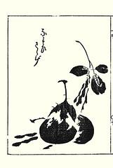Black-eyed-pea and eggplant (Japanese Flower and Bird Art) Tags: flower blackeyedpea vigna unguiculata fabaceae eggplant solanum melongena solanaceae sesshosai terai kano woodblock picture book japan japanese readercollection