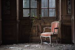 One day..you'll become a chair (Post-Mortem (Alexandre Katuszynski)) Tags: urbex urbanexploration ue urbexfrance castle abandonedcastle chateauabandonné chateau abandoned abandonné lostplaces lowlight light verlassen forgotten decay decayed dust naturereclaimed dark derelict