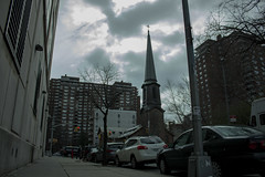 Steeple (nickmyles1) Tags: steeple new york canon clouds street sidewalk city church lost foreboding