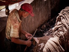 Leather Tannery - Fez Morocco (nicklaborde) Tags: 500px people adult man one exploration morocco lumix elderly artisan raw material gx8 moroccan lumixlounge