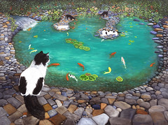 Cats and Koi (Karen Zuk Rosenblatt) Tags: karenzukrosenblatt artandphotography catart whimsy whimsical koi koy coy coi fish koifish waterlillies reflections water waterfall pond tuxedocat feline beautiful rocks boulders flowers black white lilly lillypond goldfish expressive humor humorous colorful leaves foliage nature paws ripples rippling watch watching intense stare staring cascading swimming animal mammal