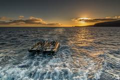 Saying Goodbye to Lanai (helenehoffman) Tags: skiffs sunset water waves sky sea skiff lanai hawaii clouds uncruiseadventures