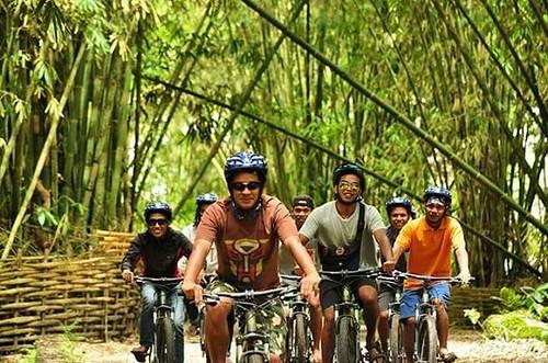 Biking Trip Lombok on the foot of Mount Rinjani at Sembalun Village. Enjoying the fresh air under the bamboo garden.  #mujitrekkertrip #mujitrekker #lombokisland #tours #lombok #sembaluntrip #biketours #biking