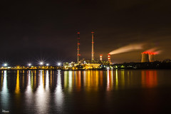 _DSC7237_n (fototaza) Tags: water light power station electricity reflections rybnik poland chimneys coolers city lights building industrial