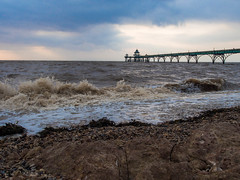 The Rough Sea at Clevedon (RS400) Tags: clevedon water sky sea beach pier blue clouds cool wow amazing wicked life travel olympus sand stones rough surfing photography