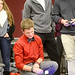 Students compete in hovercraft race.