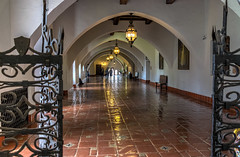 Hall of Justice (tquist24) Tags: california hbm hdr nikon nikond5300 santabarbara santabarbaracountycourthouse arch arches architecture bench chandelier courthouse geotagged hallway tiles vacation unitedstates