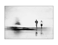Beachcombers (Tracy Linnel.) Tags: blackandwhite texture beachcomber people outdoors reflection blur tree water tracylinnel artistic artinbw