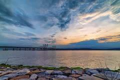 Sun setting over the Tappan Zee Bridge (Havoc315) Tags: d750 nikon hudson tappan zee bridge landscape tarrytown river hudsonriver nikond750 tappanzeebridge sunset rokinon 14mm