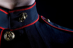 A United States Marine wearing Dress Blues in a studio environment (primera1035) Tags: america armed army blues brave bravery cap combat corps dress face forces freedom glory hat honor indoors jarhead leatherneck male man marine military navy patriotic patriotism pride proud respect ribbon sacrifice serve service soldier states studio symbol tradition troops uniform united us usa usmc veteran war