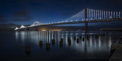 Tranquil Morning in the Bay (Andrew Louie Photography) Tags: bay bridge san francisco area sfo blue hour calm serene tranquil photography sunday embaradero waterfront