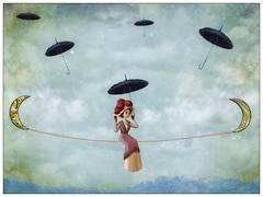 Balance (Swissrock-II) Tags: duyhyunh challenge umbrella lady sky texture textuart photoshop lightroom pixler frame photoart manipulation digitalmania clouds april 2017