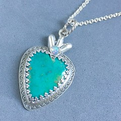 Turquoise and opal Sacred Heart pendant
