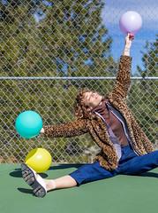 Kari (J Trav) Tags: portrait balloons colorful fashion california photoshoot model fun sunshine tenniscourt