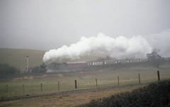 HAGLEY HALL IN THE RAIN (Malvern Firebrand) Tags: gwr 460 4930 hagleyhall with welsh marches pullman approaches church stretton rain 26283 steam special mainline mist wet smoke railway railroad svrloco shropshire countryside rural fences hedge signal