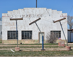 Service With a Smile (RootsRunDeep) Tags: old service station gas abandoned outtopasture decay lights peeling paint wyoming