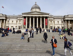 Outside the National Gallery, Trafalgar Square (Snapshooter46) Tags: outside nationalgallery trafalgarsquare architecture people stonework steps pediment cupola