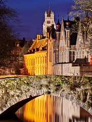Bruges Canal and Bridge at Night (Barry O Carroll Photography) Tags: groenerei canal bridge stonebridge buildings church spire water reflection bruges brugge belgium belgique night bluehour cityscape urbanlandscape architecture flemish travel longexposure
