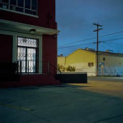 Night window (ADMurr) Tags: rolleiflex e 35 la eastside night toy window yellow blue pole kodak ektar zeiss planar cab581