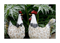 Where Have All The Hens And Chicks Gone? (paulinecurrey) Tags: smileonsaturday hensandchicks happyeaster happy smile design pattern cockerels chickens leaves artichokeleaves colourful bright birds bird sculptures metal metalchickens rooster