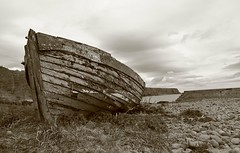 Auchmithie Wreck (alan.irons) Tags: wreck auchmithie harbour scotland ecosse eastcoast northsea beach sepia fishing fishingboat angus wooden canoneos1dxmkll old