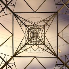 National Grid, Abstract (john&mairi) Tags: pylon abstract national grid glasgow scotland night nocturnal fisheye lens