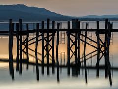Lake Constance (Mopple Labalaine) Tags: lake lakeconstance bodensee pier steg bluehour reflection allensbach sunset pillar pentax longexposure