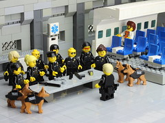LAPD conducts non-combative passenger removal training (Brick Police) Tags: unitedairlines lego lapd brickpolice police united airlines
