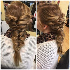 Unique fishtail type of updo I did on a beautiful friend of mine! (tannahthor) Tags: braid prom bridesmaid hair redhead bridal updo fishtail