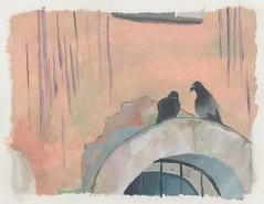 Doves in Irkutsk yard (schmurz_flint) Tags: bird doves irkutsk yard drawing art acril paper city landscape acrylic paint