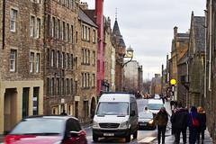 Busy Royal Mile (ondřejbockschneider) Tags: street edinburgh city people cars dusk scotland clock