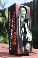 Coffin Bank (Yone 1960's) (Donald Deveau) Tags: tintoy toys vintagetoy skeleton coffinbank japanesetoy skull yone