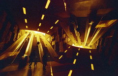 portals (m_travels) Tags: escalator bart underground station architecture konorotwild400cn 35mmfilm filmphotography experimental analogue motionpicturefilm sanfrancisco sf hot heat red yellow symmetry
