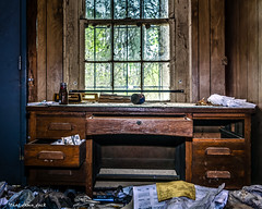 Abandoned House In the Woods: Window View From the Desk (that_damn_duck) Tags: abandoned urbex urbanexplorer decaying desk window indoors